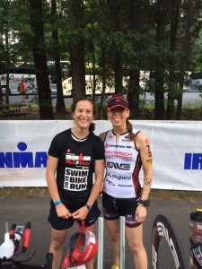 Julie Patterson and I in transition on race morning. I was lucky to race with some amazing friends in Raleigh.